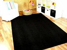 Basic Velours Teppich Carla Schwarz in 17 Größen