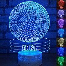 Basketball-3D-LED-Lampe, abstrakte optische