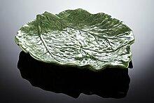Bassano Ausgefallene italienische Keramik große Servierplatte in Blattform Relief 41x35