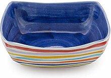 Bassano Ausgefallene italienische Keramik quadratische Schale mit Streifen blau 26x26