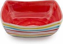 Bassano Ausgefallene italienische Keramik quadratische Schale mit Streifen rot 26x26