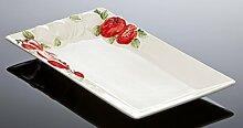 "Bassano Ausgefallene italienische Keramik, rechteckige Tomatenplatte ""Toscana"" 36x20"