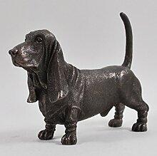 Bassett Hound Dog Skulptur kalt gegossen Bronze Statue, Home Decor Pets Geschenkidee H12cm
