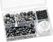 Bastelset mit 170 Glasperlen in Sortierbox, z.T. handbemalt, schwarz