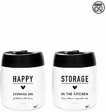 Bastion Collections 2er Set Vorratsglas Happy