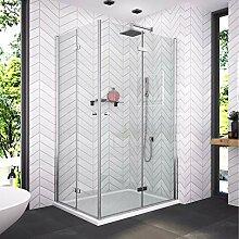 Bath-mann 80 x 100 cm Duschkabine Eckeinstieg