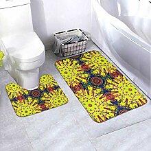 Bath Mat Set Design Blue Yellow Orange Colors 2