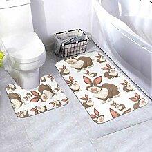 Bath Mat Set Design Brown Rabbits 2 Piece Area Rug
