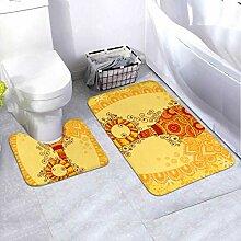 Bath Mat Set Design Bulb Horn Indian Art 2 Piece
