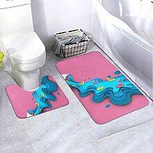 Bath Mat Set Design Ice Cream Summer Blue Sea 2