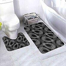 Bath Mat Set Design Monochrome Ellipse Pattern