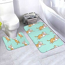 Bath Mat Set Design Pattern Brown 2 Piece Area Rug