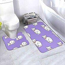 Bath Mat Set Design Pattern White 2 Piece Area Rug