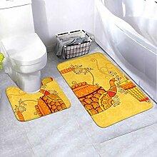 Bath Mat Set Design Tea Kettle Glass Indian 2