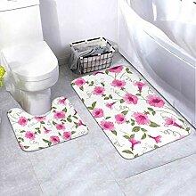 Bath Mat Set Design Vintage Floral Card 2 Piece