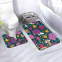 Bath Mat Set Doodles Elements Design Multicolored
