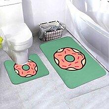 Bath Mat Set Doughnut Flat Design 2 Piece Area Rug