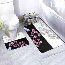 Bath Mat Set Embroidery Butterfly Sakura Design
