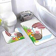 Bath Mat Set Exotic Bird Summer 2 Piece Area Rug