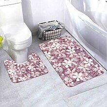 Bath Mat Set Vintage Floral Designs 2 Piece Area