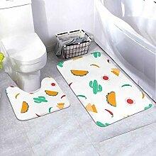 Bath Mat Set Wallpaper Modern Flat Design 2 Piece