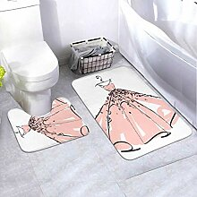 Bath Mat Set Wedding Dress Design Pink Whiteblue 2