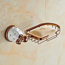 BATHAE New Golden Oberfläche Messing Flexible Seifenkorb Seifenschale Seifenhalter Badzubehör Badmöbel WC-Halter, Rose Gold
