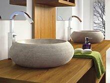 bathco–bathco Waschbecken auf Waschtischplatte Stein Fiji beige 450x 150