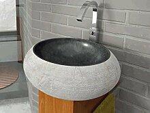 bathco–bathco Waschbecken auf Waschtischplatte Stein Fiji schwarz 450x 150