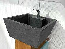 bathco–bathco Waschbecken auf Waschtischplatte Stein Rhodos schwarz 450x 450x 200