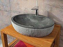 bathco–bathco Waschbecken auf Waschtischplatte Stein Santorini 55Schwarz 550x 400x 120