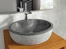 bathco–bathco Waschbecken auf Waschtischplatte Stein Santorini 45Schwarz 450x 400x 120