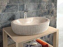 bathco–bathco Waschbecken auf Waschtischplatte Stein Santorini 55Beige 550x 400x 120