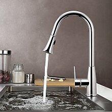 BATHWA Niederdruck Küchenarmatur Einhebelmischer Küche Spültisch Armatur Waschtischarmatur mit herausziehbarem Auslauf Wasserhahn