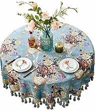 BATSDCB Vintage Kleine runde Tischdecke mit quaste