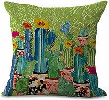 BATTAR-Einfache Blumendruck Kissenbezug Dekorative Kissenbezug Tropische Pflanze Kaktus Baumwolle Leinen Kissenbezug,5pcs, gelegentliche Farbe