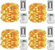 Batterie Lichterketten, 4 Stück 10M 100 LEDs