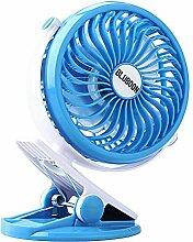 Batterie Ventilator Clip Fan 360 Grad-Umdrehung 18650 Batteriebetriebene Computer Desktop Fan 5 Zoll(Blau)