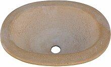 Batterie Waschbecken Rustica oval für Innen oder Außen in Stein 56x 43x 16cm.