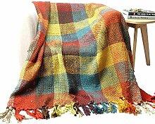 battilo Kreuz Woven Fun Farben kariert Muster Überwurf Decke mit mit Quaste Enden 152,4x 127cm