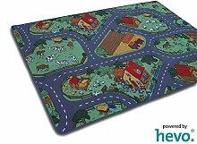 Bauernhof Teppich HEVO® Kinder Strassen Spielteppich | Kinderteppich 200x290 cm