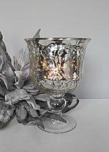 Bauernsilber Windlicht Schale Kerzenschale Kelch - 19 cm hoch - Shabby Chic Landhaus