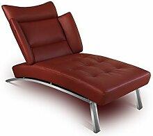 Bauhaus Daybed Chaiselongue Lounge-Sessel Relax Liege Couch Sofa Echtleder, Fuß Edelstahl poliert. Abbildung in Leder Bordeaux (Weinrot).