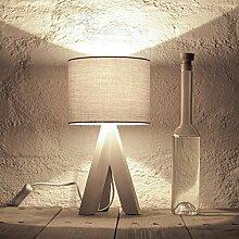 Bauhaus Stil Tischleuchte mit Holzfuß und grauem