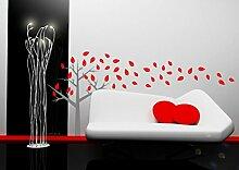 Baum Blätter blumen Badezimmer Kinder Schlafzimmer Wand Aufkleber Wandkunst Aufkleber Wandgemälde - Magenta Rosa Glanz, 170cm x 137cm
