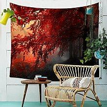 Baum Wald Sonnenuntergang Wandteppich Natur