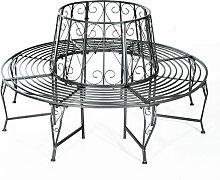 ® Baumbank Rundbank 360° Metall ?160cm - silber