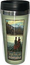 Baumfreie Grüße sg23120Vintage Montana Canyon Ferry Lake Canoers von Paul A. lanquist Edelstahl SIP 'n Go Travel Tumbler, 473ml