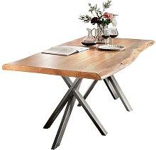 Baumkanten Esstisch aus Akazie Massivholz Stahl