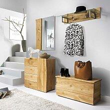 Baumkanten Garderoben Set aus Eiche Massivholz